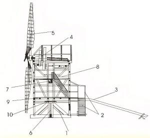 Aufbau einer Bockwindmühle:1 Bockgerüst, 2 Treppe und Feise, 3 Sterz, 4 Kammrad, 5 Flügelkreuz, 6 Hausbaum, 7 Mehlbalken, 8 Steinboden, 9 Mehlboden, 10 Sattel- Quelle: http://de.wikipedia.org/wiki/Bockwindm%C3%BChle