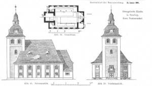 Bauzeichnung zur Kirche in Sontop / Zentralblatt der Bauverwaltung