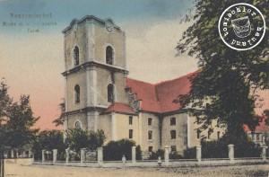 Die Kirche mit dem abgebrannten Turm, bei diesem Brand wurde die Orgel auch die Orgel in großen Teilen vernichtet - Karte aus der Sammlung von Wojtek Szkudlarski