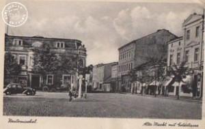 1942 Blick vom Alten Markt in die Goldstrasse, in dem 3tem Haus rechts war die Bäckerei Jost - Postkartenabbildung