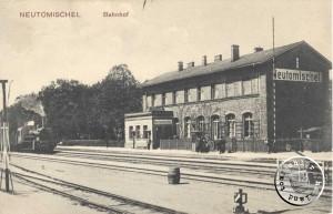 Stacja kolejowa z 1870.  Ze zbiorów Wojciecha Szkudlarskiego.