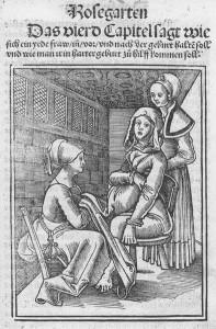 Der Beruf der Hebamme - Quelle: http://commons.wikimedia.org/wiki/File:Eucharius_R%C3%B6%C3%9Flin_Rosgarten_ Childbirth.jpg?uselang=de