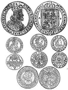Polnische Muenzen von Koenig Johann Kasimir. - Quelle: http://geneal.lemmel.at/TimpfeMunzmeister.html