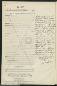 Der Eintrag der Mitteilung des Todes aus dem Jahr 1889 - Quelle: http://szukajwarchiwach.pl/53/1913/0/4/51/str/1/10/15#tabSkany