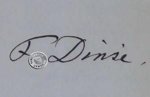Unterschrift des Orgelbauers F. Dinse