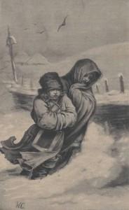Auf dem Weg zur Schule ... auch bei schlechtem Wetter - Bild: Digital Library of Wielkopolska (www.wbc.poznan) Kłosy: czasopismo ilustrowane, tygodniowe, poświęcone literaturze, nauce i sztuce 1885.02.28(03.12) T.40 Nr1028