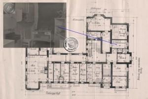 Grundriss des Untergeschosses (1) mit Bild des Laboratoriums (2)