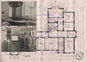 Planungszeichnung des Erdgeschosses (1) mit Bildern des Operationssaales und des Roentgengerätes (2)