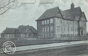 Blick auf das Krankenhaus vor ca. 100 Jahren, noch ohne jeglichen Baumbestand - AK aus Sammlung des Wojtek Szkudlarski