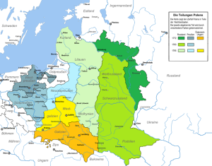 Die Teilungen Polens, Quelle: http://commons.wikimedia.org/wiki/File:Partitions_of_Poland_german.png