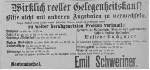 Anzeige aus dem März 1897 - Schweriner startet den Ausverkauf