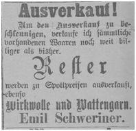 Es werden noch Reste bei Schweriner verkauft 1897/10/12, zum 01 November erfolgte dann die Übersiedlung nach Erfurt