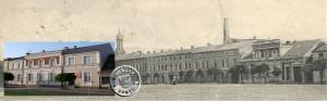 Der Unfallort - die Gaslaterne vor der Weinert'schen Villa / Postkartenausschnitt u Eigenaufn.