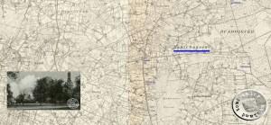 Cichagora wird nach Hammer Boruy eingepfarrt - Karte: http://mapy.amzp.pl, Postkarte: A. Kraft