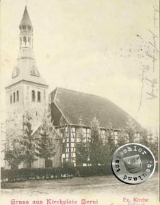 Die Kirche zu Borui nach 1900 - Postkartenausschnitt Sammlung A. Kraft