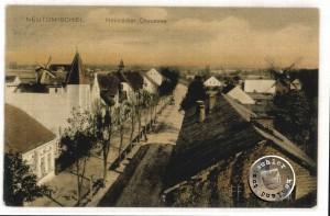 """Links das ehem. Villenviertel der Stadt, im Hintergrund die """"Würdige Alte"""" Windmühle des letzten Besitzers Reisch - AK in Privatbesitz"""