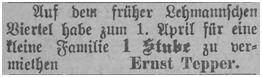 Stubenvermietung für eine Familie durch Ernst Tepper