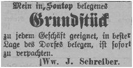 Grundstücksverpachtung durch Ww. Schreiber, Sontop