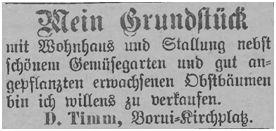 Angebot des Verkaufs durch Timm, Borui-Kirchplatz
