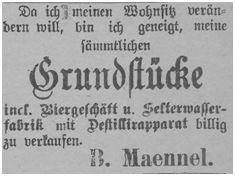B. Maennel beabsichtigt seinen Besitz zu verkaufen