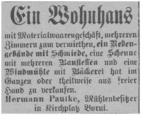 Paulke in Kirchplatz Borui beabsichtigt sein Anwesen mit Schmiede und Windmühle zu verkaufen