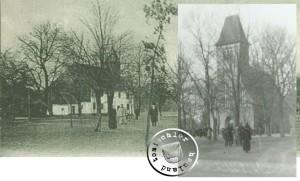 Das alte später abgebrochene und das neue, noch heute erhaltene Kirchengebäude der Gemeinde Jastremske / Ausschnitte aus AK aus der Sammlung A. Kraft