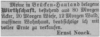 Ernst Noack bot seine Wirtschaft in Brücken-Hauland an
