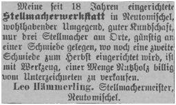 Leo Hämmerling bot seine Stellmacherwerkstatt in Neutomischel zum Verkauf an