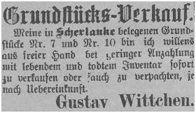 Gustav Wittchen bot sein Gründstück in Scherlanke zum Verkauf an