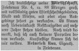 In Friedenau wurde die Wirtschaft des Heinrich Rau angeboten