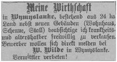 In Wymyslanke wurde die Wirtschaft des  W. Wilde zum Verkauf offeriert