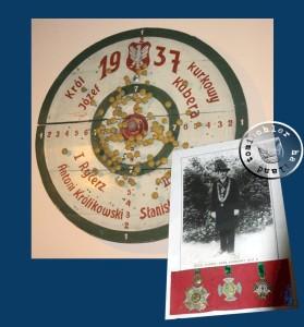 Schiesscheibe, die gewonnenen Orden und das Bild des Schützenkönigs Josef Kubera aus dem Jahr 1937 - ausgestellt im Muzeum Ziemi Grodziskiej