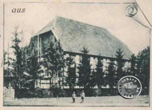 Die Kirche noch ohne Turm - Postkartenausschnitt aus der Sammlung des Wojtek Szkudlarski