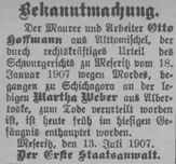 Bekanntmachung - Kreisblatt vom 16. Juli 1907