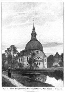 Neue evangelische Kirche in Bentschen, Prov. Posen, Rückseite, Abb. 64, Der Bildwirkung zuliebe ist der See näher an die Kirche herangerückt, als in Wirklichkeit der Fall. Der Pfarrgarten liegt noch dazwischen - Bild: (3)