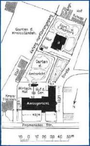Lageplan - Abb. 2  a. Wohnhaus für einen zweiten Richter b. Garten des Gerichtsdieners c. Abort