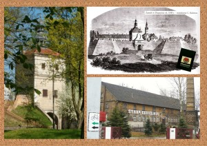 """links: heute noch zu besichtigender Turm der alten Befestigungsanlage - Bild: EA; rechts oben: Schloss und alte Befestigungslagen um 1840 - Bild: Bildband """"Zbąszyń na dawnej pocztowce"""" (Bentschen in alten Postkarten) - Autor: Krzysztof Rzepa / 2012; rechts unten: Alte Ziegelei - Bild: http://commons.wikimedia.org/wiki/File:Old_brick_factory_Zbaszyn.JPG#mediaviewer/File:Old_brick_factory_Zbaszyn.JPG"""