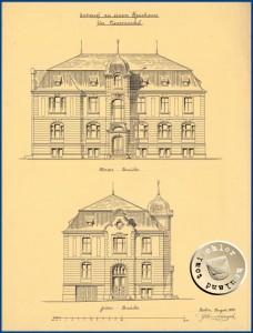 Zeichnungen Vorder- und Seiten Ansicht - Gustav Knoblauch (1833-1916) Tuschezeichnung auf Transparent – Entwurf – Quelle: Architekturmuseum der Technischen Universität Berlin in der Universitätsbibliothek, Inv. Nr. GK423,013