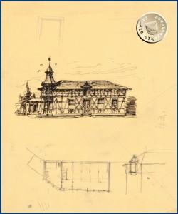 """Das """"kleine Stallgebäude"""" im Entwurf, nur noch auf alten Postkarten erkennbar - Gustav Knoblauch (1833-1916) Tuschezeichnung auf Transparent – Entwurf – Quelle: Architekturmuseum der Technischen Universität Berlin in der Universitätsbibliothek, Inv. Nr. GK423,029"""