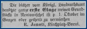 Vermietungsanzeige - Kreisblatt Neutomischel 20.07.1900 Wielkopolska Biblioteka Cyfrowa
