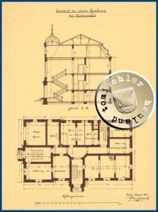 Przekrój A-B, i rzut piwnicy  Gustav Knoblauch (1833-1916) projekt na kalce Źródło: Muzeum Architektury Uniwersytetu Technicznego w Berlinie – Biblioteka Uniwersytecka Nr Inw. GK423,006