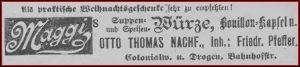 Als praktische Weihnachtsgeschenke sehr zu empfehlen ! so die Firma Otto Thomas Nachf., Inh. Friedr. Pfeffer in Neutomischel - Anzeige im Kreisblatt Neutomischel 1904