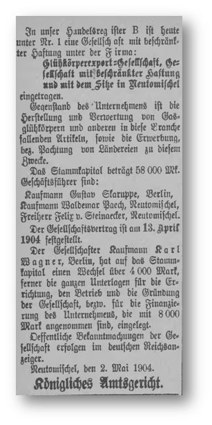 Die Veröffentlichung der Handelregistereintragung aus dem Jahr 1904 - Kreisblatt 1904-05-06