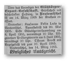 Die Veröffentlichung der Konkurseröffnung - Kreisblatt 1905-03-17