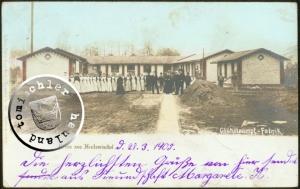 Ansicht der ersten Glühstrumpffabrik 1904/1905 in der ehemaligen Bahnhofstraße in Neutomischel - Ansichtskarte aus der Sammlung A. Kraft