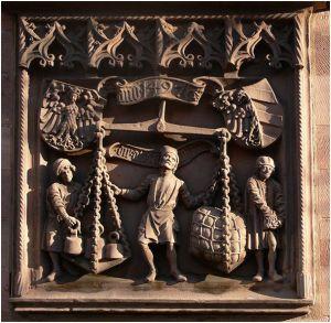 Relief der alten Kleinen Stadtwaage Nürnberg - Quelle: http://commons.wikimedia.org/wiki/File:N%C3%BCrnberg_Winklerstra%C3%9Fe_22_IHK_Hauszeichens_der_Kleinen_ Stadtwaage.jpg