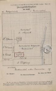 """Kopie des Original Belegenheitsplans - die Angabe der Himmelrichtung """"Norden oben"""" ist hier nicht beachtet worden - Quelle: Staatsarchiv Posen - Stadtakten 4385-0016"""