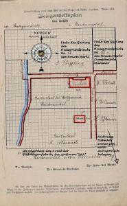 """Der Belegenheitsplan, hier überarbeitet unter Beachtung der Himmelsrichtung """"Norden oben"""" und ergänzt mit erklärenden Hinweisen zur Lage - Quelle des Originals Staatsarchiv Posen - Stadtakten 4385-0016 / hier verändert"""