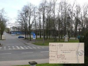 """Der ehemalige """"Witteplatz"""", hier kombiniert mit einem Teilausschnitt des alten Belegenheitsplans, der eingezeichnete Privatweg verlief längs der heutigen Parkplätze, die heutige im Hintergrund erkennbare Straßenführung führt mitten durch den ehemaligen Turn- und Sportplatz - Foto: PM"""