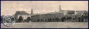 Rechts die Villa, links daneben das Hotel; der Schornstein gehörte zur Dampfmühle Maennel, im Hintergrund der ehemalige Kirchturm - Postkartenausschnitt aus der Sammlung des Wojtek Szkudlarski